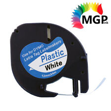 4x Generic LetraTag Plastic Tape for Dymo 91201 SD91201 Black on White 12mm x 4m