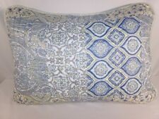 One Blue Beige STANDARD PILLOW SHAM Quilted Paisley Floral Country Cottage