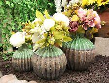 Ceramic Southwestern Contemporary Golden Barrel Cactus Floral Vases Set of 3