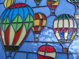 NEWLY CRAFTED Stained Glass Window Panel FESTIVAL of HOT AIR BALLOONS 655 by 555