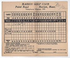RARE 1952 GOLF SCORECARD Marion Golf Club MASSACHUSETTS Golfing GOLFERS Mass MA