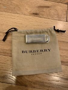 BURBERRY silver metal Money Clip Pre-Owned with original drawstring bag