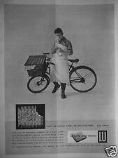 PUBLICITÉ 1958 LE PETIT-BEURRE LU LEFÈVRE-UTILE - LE BOUCHER VÉLO - ADVERTISING