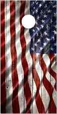 American Flag Weathered Wood Laminated Cornhole Wrap Bag Toss Skin Decal