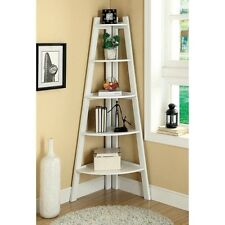 White Ladder Shelf Book Leaning Bookcase Bookshelf Storage Decor Rack Wall Stand