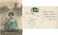 CPA Velouté 1914 postcard moulin windmill Happy New Year BONNE ANNEE [1149 R]