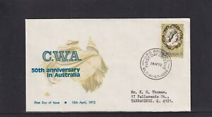 Australia 1972, Royal 50th Anniversary of C.W.A. FDC (blue & grey design)