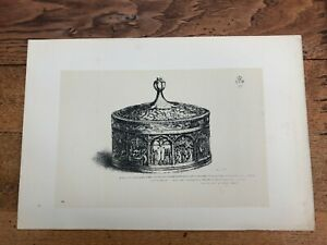 1881- 2 litho ( s. kensington museum ) box with cover in box wood . 14th century