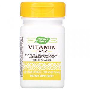 Nature's Way, Vitamin B-12, Cherry Flavored, 2,000 Mcg, 100 Vegan Lozenges