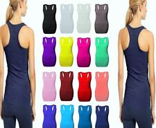 Womens Long Racer Back Bodycon Muscle Vest Top Gym Top All Sizes 8-26 HUGE SALE