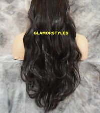 "20""/140GR BROWN FLIP IN SECRET CLEAR WIRE HAIR PIECE EXTENSIONS NO CLIP IN/ON"