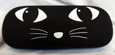 Black Cat Design Glasses / Spectacles Case w/ Polishing Cloth - Hard Case - NEW