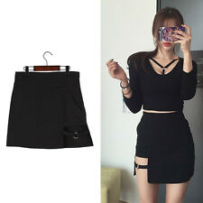 Women Mini Solid Skirt Black Irregular Gothic Punk Summer Party Metal Ring