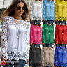 Fashion Women Long Sleeve Blouse Tops Ladies Loose Casual Embroidery Lace Shirt