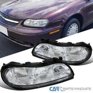 For 97-03 Chevy Malibu Crystal Clear Lens Headlights Head Lights Lamps Pair