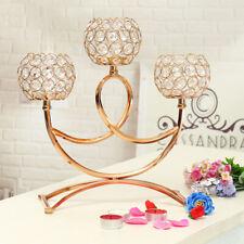UK 3Pcs Wedding Elegant Tea Light Crystal Candle Holders Candlestick Table ~