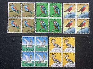 QATAR STAMPS - 1972 BIRDS - 5 VALUES TO 5 DIRHAMS IN BLOCKS OF 4 - UMM - (789)