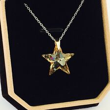 Swarovski elements 925 silver crystal star necklace pendant jewellery gold gift
