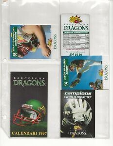(12) BARCELONA DRAGONS WORLD LEAGUE OF AMERICAN FOOTBALL SCHEDULES - RARE