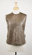NWT BRUNELLO CUCINELLI Brown Shearling Leather Jacket Vest Size 6/42 $4895