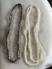 Vintage 2 Faux Rice Pearl Beaded Necklace Long Infinity 36.5 Inches