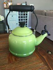 Le Creuset Green 1.7 Quart Whistling Enameled Hot Water Tea Kettle