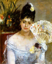Art Oil painting At the Ball by Berthe Morisot young girl holding fan on canvas