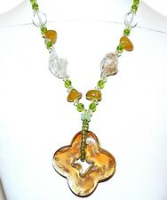 FN221 Yellow Agate Gemstone & Lampwork Glass Fashion Necklace w Silver Clasp 19""