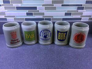 Lot of 5 Vintage 0.5L Stoneware Ceramic German Beer Tankards