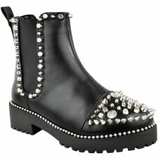 Womens Studded Stud Ankle BOOTS Pull on Chelsea Spike Chunky Punk Goth Biker