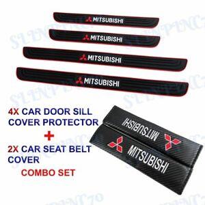 Black Rubber Car Door Scuff Sill Cover Panel Step Protector COMBO For Mitsubishi