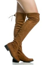 NEW SIZE 7 TAN Thigh High Suede Drawstring Round Toe LOW HEEL Over Knee Boot