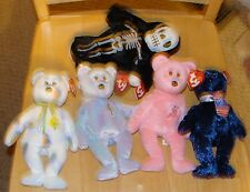LOT of 5 TY BEANIE BABIES Bears Cheery Mum Pops Issy Creepers Skeleton 2001 2002