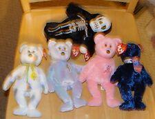 LOT of 5 TY BEANIE BABIES Bears Cheery Mum Pops Issy Creepers Skeleton 2001 2002