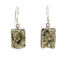 India Gems Silver Dangle Earrings with Rectangular Metallic Pyrite Drops  e104b