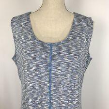 Vintage Suzie Women's XL Top Shirt Blouse Sleeveless Blue Black White