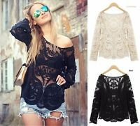 Fashion Womens Floral Long Sleeve Lace Floral Crochet Loose Blouse Tops T Shirt