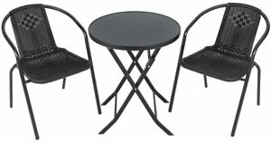 Warmiehomy Patio Garden Table Chair Set Outdoor Foldable Coffee Table with 2pcs