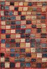 Semi-Antique Gabbeh Checkered Oriental Area Rug Hand-knotted Low Pile Wool 2x3