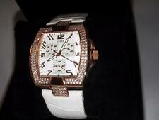 NEW GUESS LADIES WHITE LEATHER GOLD TONE WATCH U13520L1