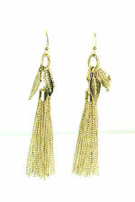 LADIES GOLDEN AUTUMN LEAF TASSELED EARRINGS UNIQUE EVENING / PARTY WEAR (CL10)