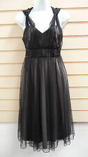 REDUCED BLACK NET BALLERINA STYLE KNEE LENGTH PARTY / FORMAL DRESS SIZE 12 BNWT
