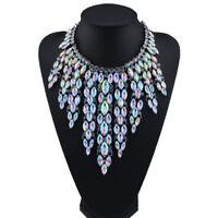 Fashion Women Luxury Crystal Tassel Bib Statement Pendant Choker Necklace