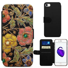 Colourful Vintage Floral Print Leather Flip Wallet Phone Case Cover iPhone HTC
