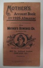 Vintage Antique Mother's Remedies Co. Account Book & 1925 Almanac Chicago, Ill