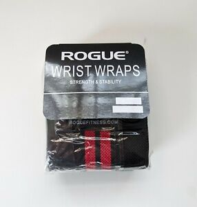 "Rogue Fitness Wrist Wraps Medium Black/Red Weightlifting Crossfit 18"" Pair"