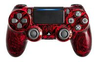 PS4 Controller original Playstation Custom Crackling Design Rot Schwarz