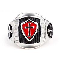 Masonic Ring Mens Stainless Steel Red Armor Shield Knight Templar Crusade Cross