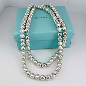 "30"" Rare Tiffany & Co Sterling Silver HardWear 10mm Bead Ball Necklace"