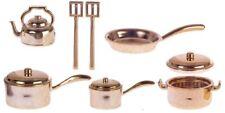 Bronze Kitchenware Pots & Pans Set, Dolls House Miniatures, Kitchen